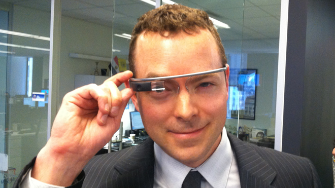 Tech author testing Google glass