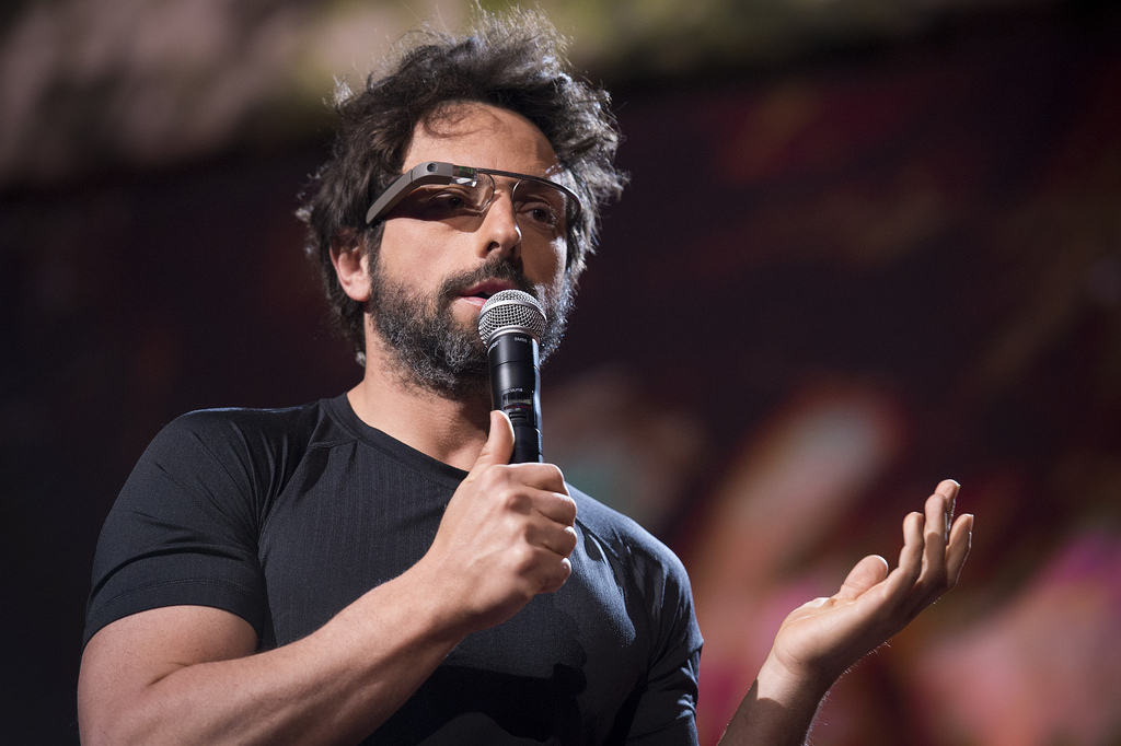Sergey Brin Introducing Google glass in an event - Google glass photos collection