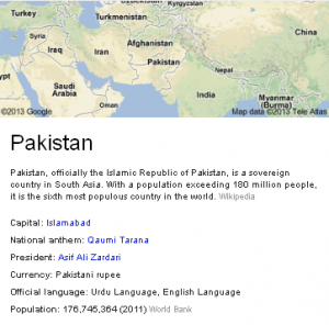 Countries' info - Google search tips and tricks
