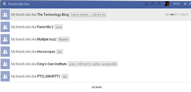 Facebook Graph Search Suggestions