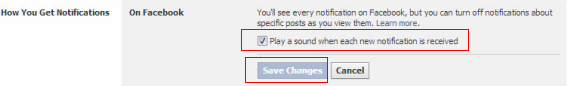 Check the options - Turn Facebook Notification Sound On