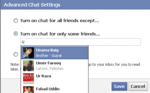 Turn Chat on for certain people