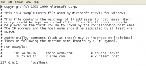 Hosts File in window opened using notepad