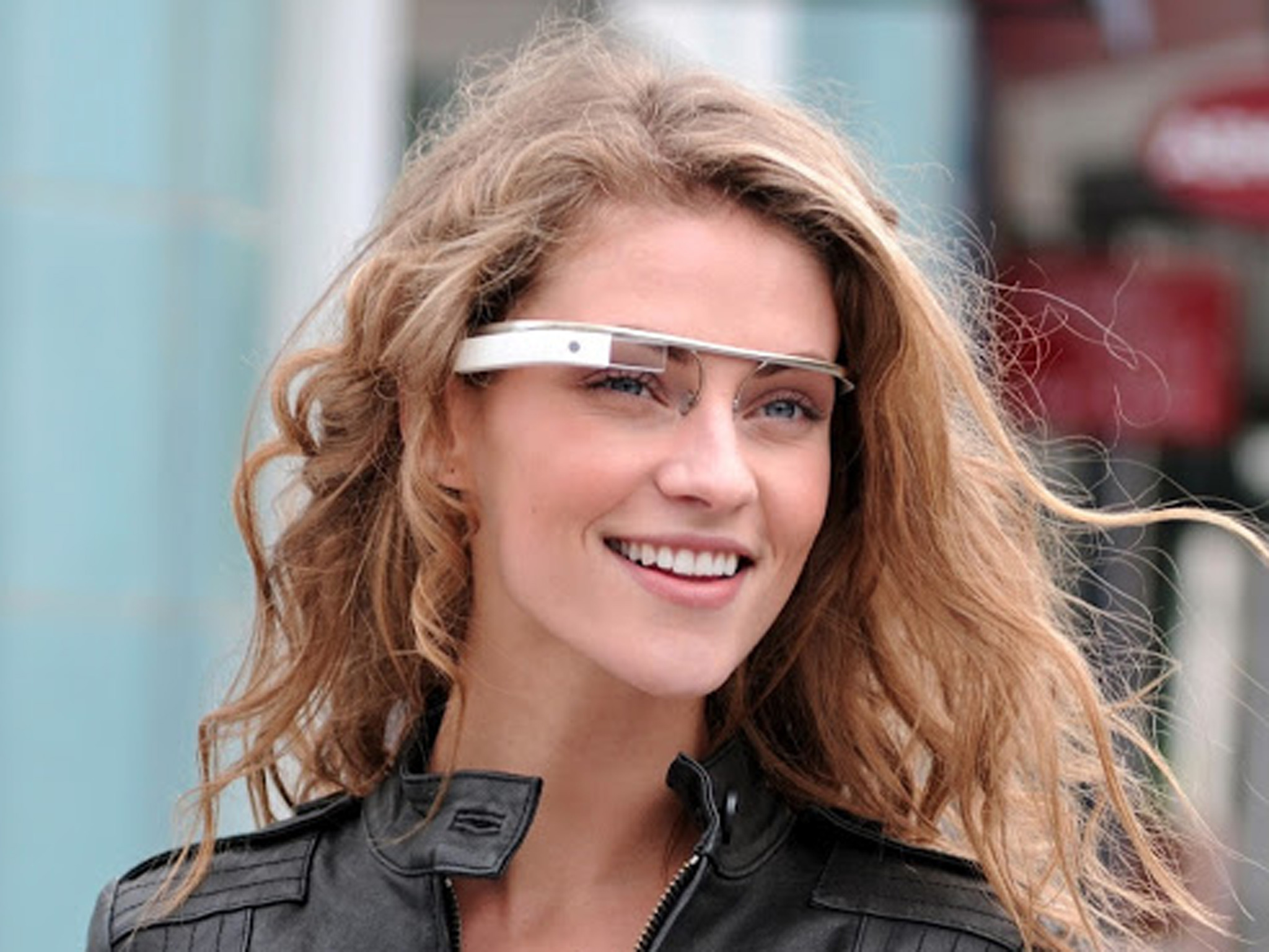 Beautiful Model Introducing Black Google glass