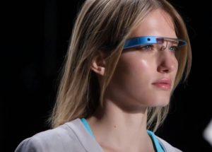 Model Introducing Blue Google Glass - Google glass Photos Collection