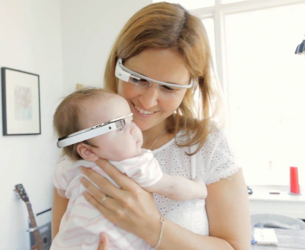 Baby and mother wearing Google glass - Google glass picture gallery