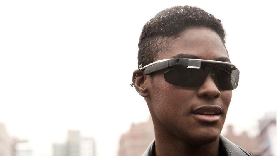 black guy wearing Google glass