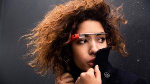 Model introducing Google glass