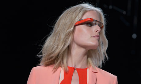 Pink Google glass introduced by a model