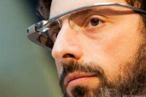 Sergey brin poss with Google glass - Google glass photos collection