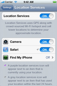 location services in iPhone 5