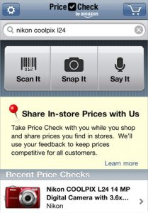 Price check by Amazon, shopping apps