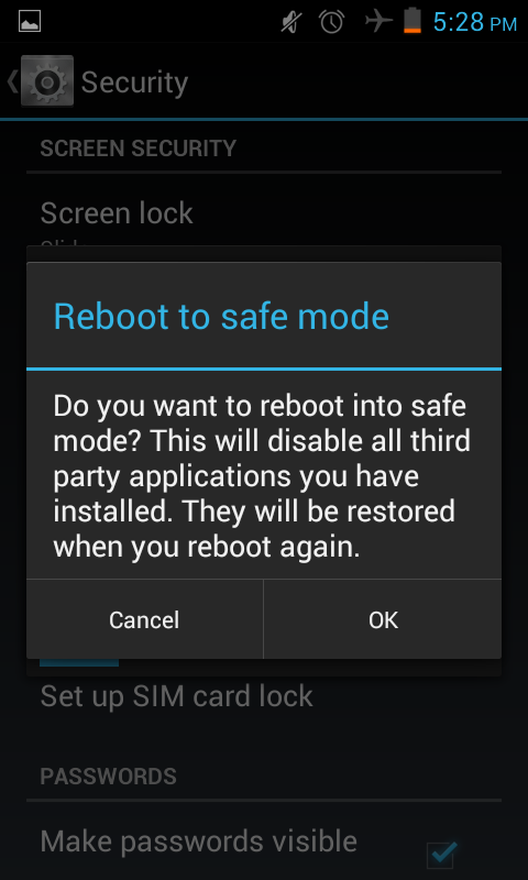 reboot android phone to safe mode - jelly bean tip