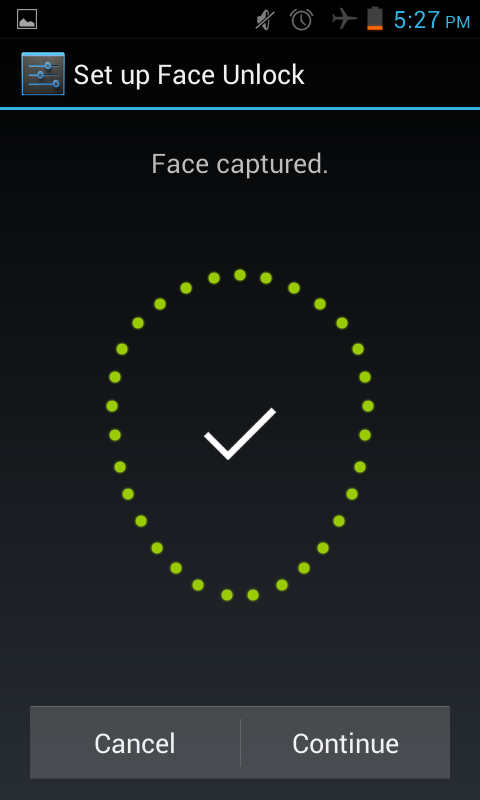 setup face unlock in the Jelly bean