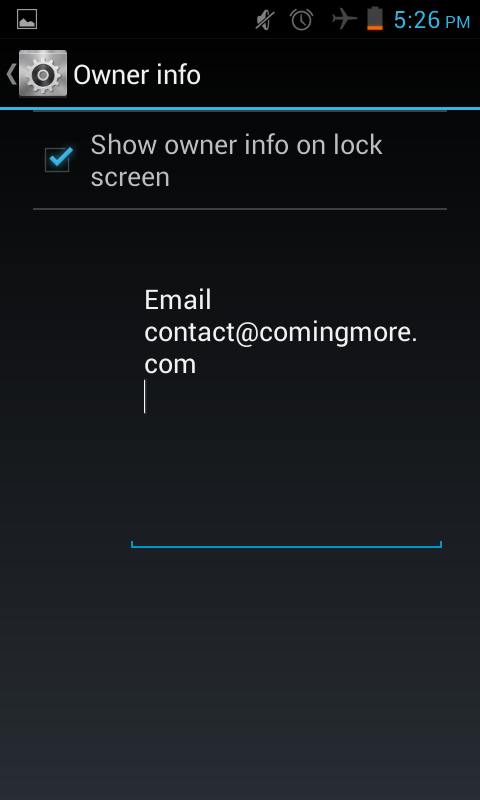 show owner info on the lock screen - Jelly bean tip
