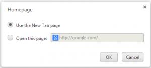 Homepage settings in google chrome