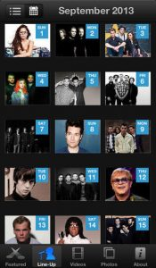 iTunes festival 2013 Lineup on the app