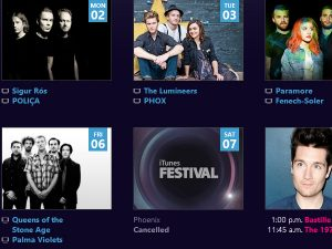 iTunes festival last day of first week - Phoenix cancelled