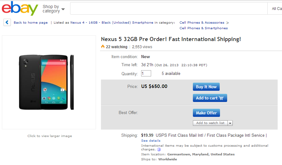 Nexus 5 Pre-Order On Ebay, Be Careful With That