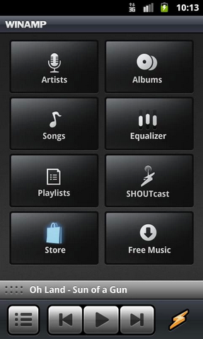 Winamp android app features menu