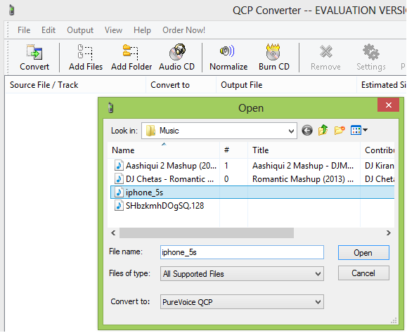 how to convert Mp3 files to QCP - step 1