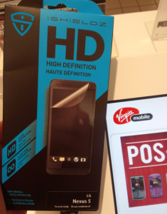 nexus 5 screen protector received by Virgin mobile
