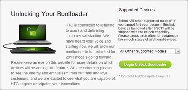 unlock HTC boat loader from HTC website